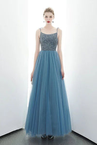 A-line Spaghetti Straps Blue Lace Up Back Beading Tulle Long Prom Dresses PFP1677