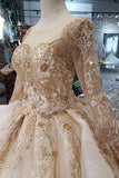 New Arrival Prom Dresses Long Sleeves Ball Gown Scoop With Applique Beads Lace Up Back PFP0550