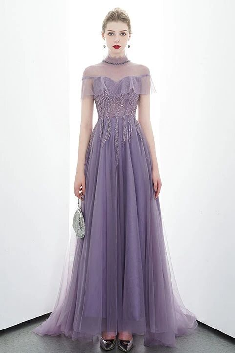 A-line Tulle Long High Neck Purple Prom Dresses With Ruffles Formal Evening Dress PFP1679