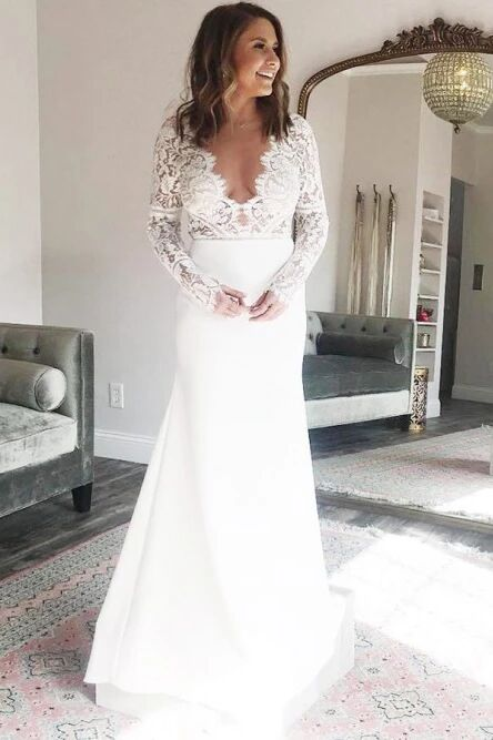 Sheath V-Neck Long Sleeves Deep V Neck Wedding Dress with Lace Top PFW0440