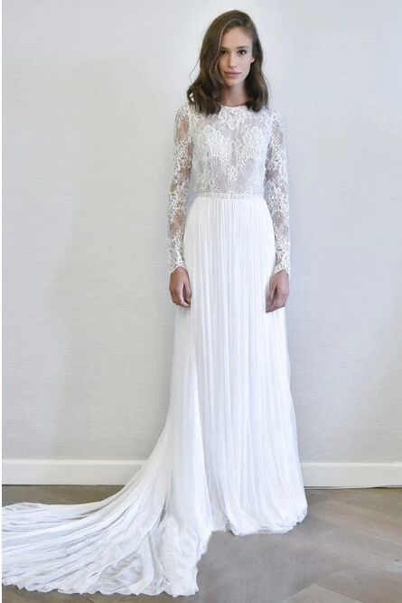 A-Line Long Sleeves Chiffon Long Simple Wedding Dress with Lace PFW0442