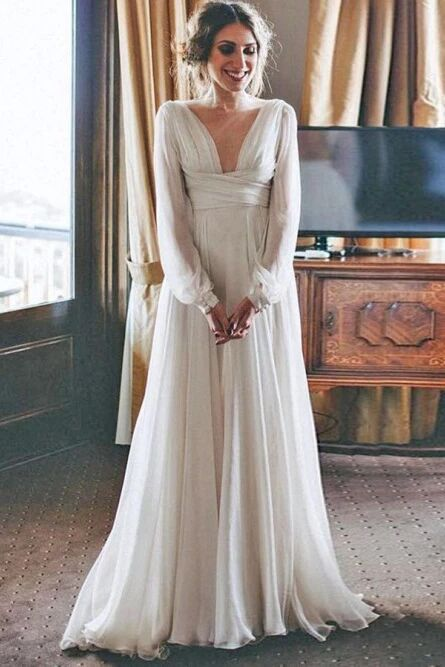 A-Line V-Neck Long Sleeves Floor Length Chiffon Beach Wedding Dress PFW0443