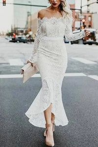 Mermaid Off-the-Shoulder Long Sleeves High Low Lace Beach Wedding Dress PFW0445