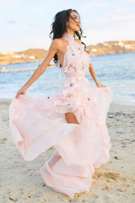 A-Line Halter Backless Light Pink Chiffon Beach Wedding Dress with Appliques Ruffles PFW0447