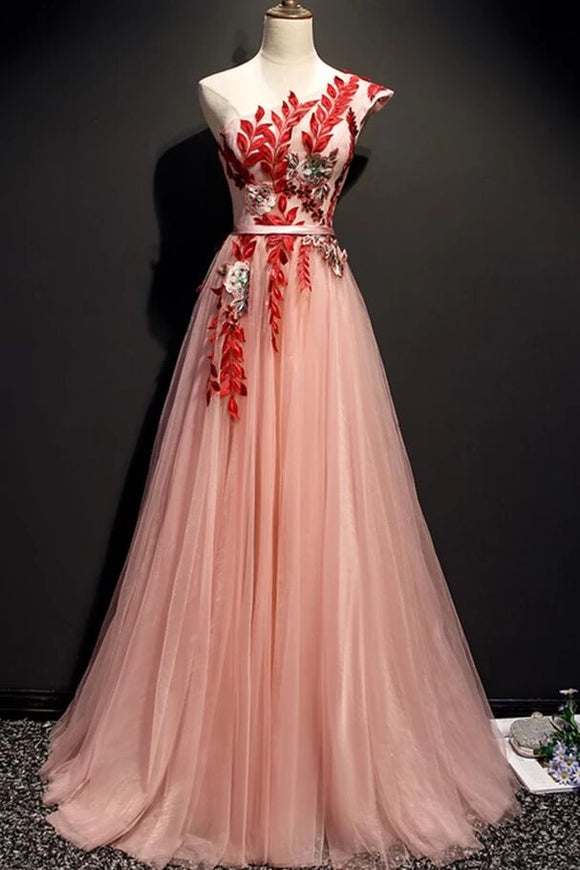 A Line Pink One Shoulder Tulle Red Applique Long Prom Dress Evening Dress PFP1680