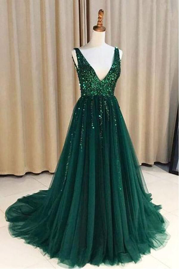 Promfast V Neck Green Open Back Tulle Long Prom Dresses With Sequins PFP1808