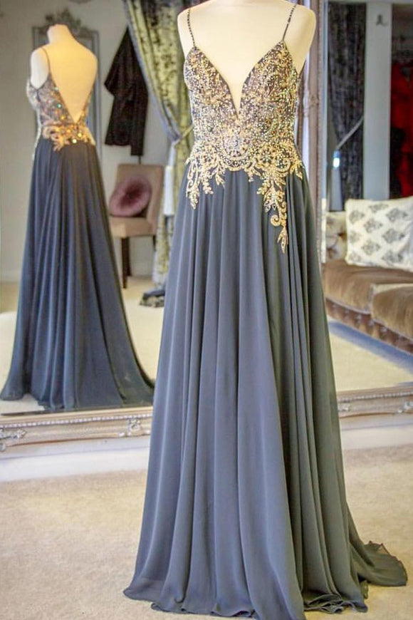 Beaded Chiffon Spaghetti Straps Long Prom Dresses With Appliques
