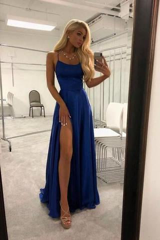 Royal Blue Spaghetti Strap A Line Prom Dress Sexy Long Split Party Dresses