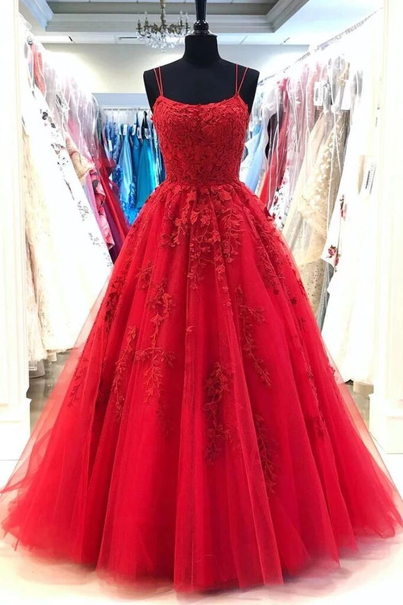 Red Spaghetti Straps Tulle Lace Appliques Modest Evening Dress Long Prom Dress PFP1682