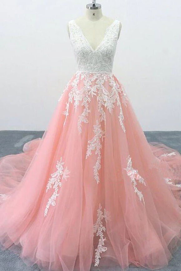 A-line V Neck Pink Tulle Lace Appliques Cathedral Train Formal Prom Dress PFP1684
