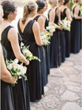 A-Line Round Neck Floor-Length Navy Blue Chiffon Bridesmaid Dress PFB0141