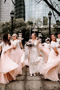 A Line Two Piece Short Sleeves Floor-Length Pink Bridesmaid Dress with Lace PFB0145