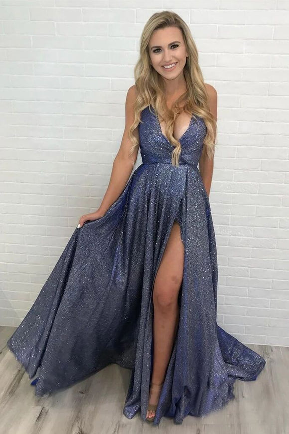 Deep V Neck Sparkly Long Sexy Prom Dresses With Slit Spaghetti Straps Formal Dresses PFP1685