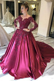 Long Sleeves Lace Appliques Burgundy Court Train Ball Gown Prom Dresses PFP1686
