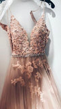 Sweetheart Spaghetti Straps Lace Appliques Prom Dress, Formal Evening Dress PFP0085