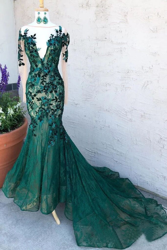 Mermaid Dark Green Prom Dresses With Long Sleeves Illusion Neck Party Dresses PFP1688