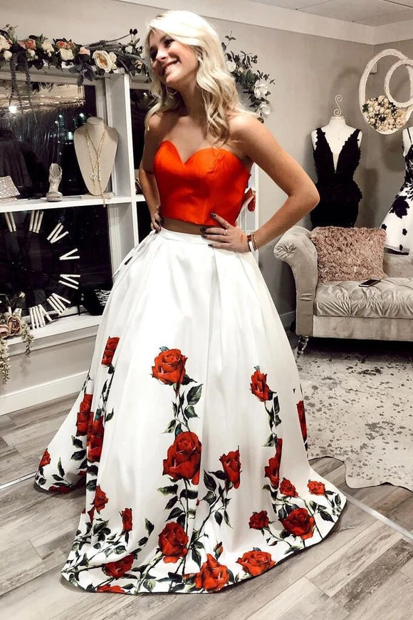 Charming Two Piece A Line Sweetheart Floral Long Prom Dress PFP1691