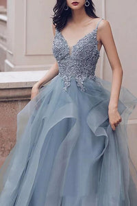 Deep V Neck Appliqued Spaghetti Straps Multi-Layered Organza Blue Bridal Dresses PFP1693