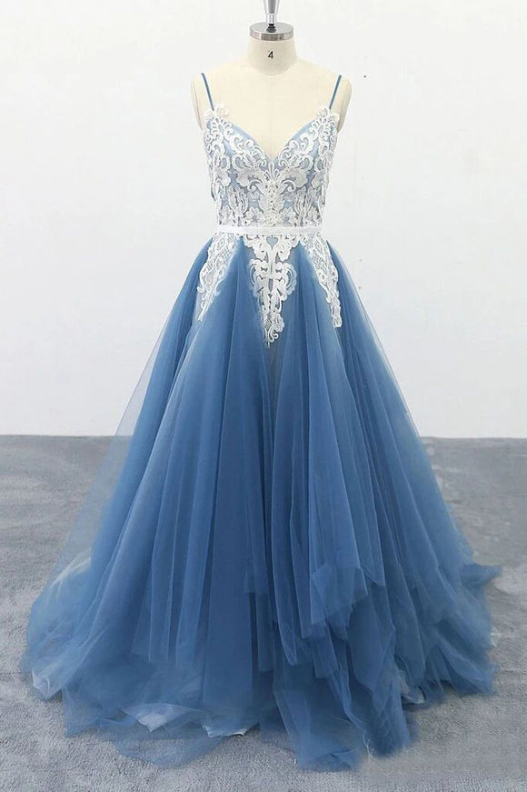 Spaghetti Straps A Line Party Dresses Appliques Blue Tulle Prom Dresses PFP1696