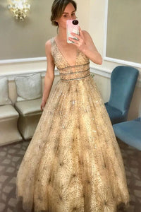 Charming A-line V neck Sparkly Tulle Evening Dress Long Sequins Prom Dress PFP1700