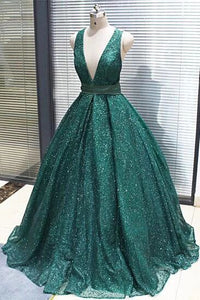 A-line V neck Dark Green Sequined Long Prom Dresses Sparkly Evening Party Dresses PFP1701