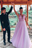 A-line V Neck Sexy Long Lilac Prom Dresses Tulle Formal Dress PFP1703