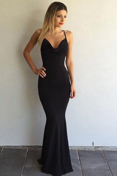 Black Sleeveless Sexy Spaghetti Strap Criss Cross Back Mermaid Prom Dress PFP0019