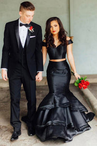 Black 2 Pieces Off Shoulder Mermaid Elegant Prom Dresses With Layers