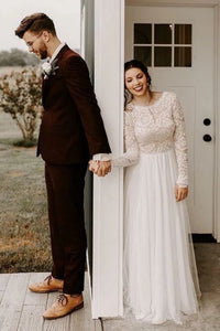 A-Line Round Neck Long Sleeves Backless Boho Wedding Dress with Lace PFW0452