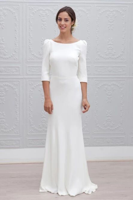 Simple Sheath Bateau Backless 3/4 Sleeves Sweep Train Beach Wedding Dress PFW0456
