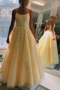 A-Line Yellow Spaghetti Straps Tulle Long Prom Dresses With Appliques PFP1714