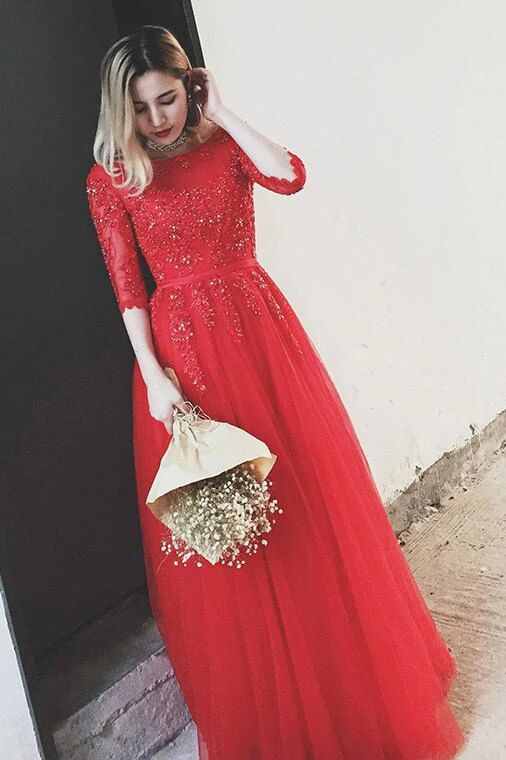 Red Bateau Floor-length Appliques Half Sleeves Long Prom Dress Evening Dress PFP1715