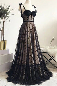 Vintage Spaghetti Straps Black A Line Long Prom Dress Formal Evening Dresses PFP1716