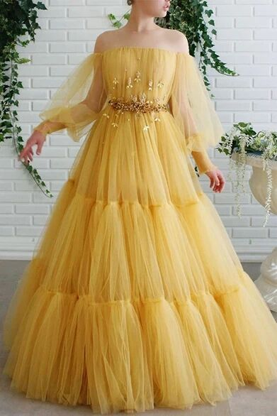 A-line Off-the-shoulder Yellow Tulle Long Prom Dresses Evening Dress PFP1722