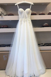 White Spaghetti Straps Tulle Lace Appliques Long Prom Dress Evening Dress PFP1730