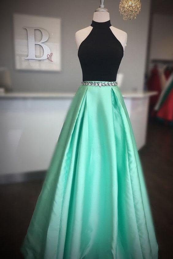High Neck Two Piece Black And Mint Green Beads Long Prom Dress PFP0090