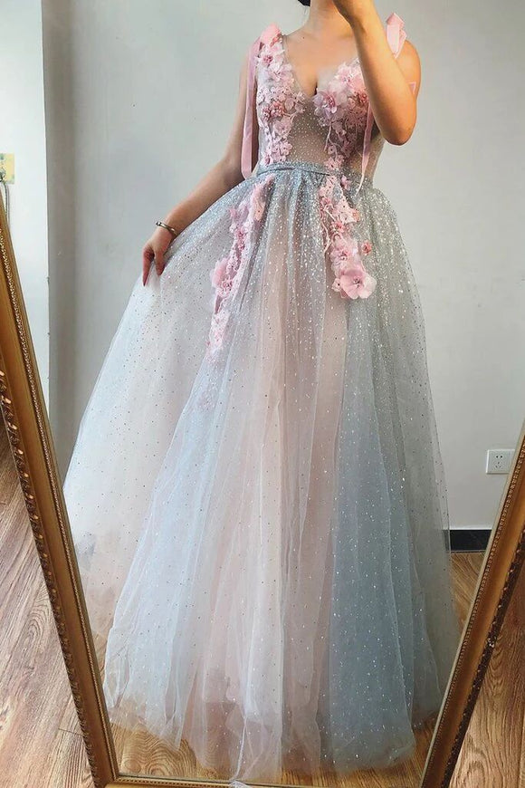 A-line V Neck Beaded Pink Flowers Long Prom Dresses Beautiful Evening Gowns PFP1736