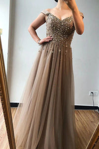 A-line Off-the-shoulder Beaded Long Prom Dresses Brown Evening Gowns PFP1737