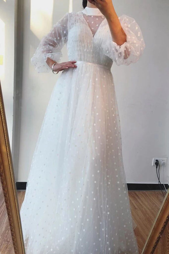 A-line High Neck Long Sleeves White Long Prom Dresses Formal Gowns PFP1740