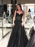 A-Line Spaghetti Straps Long Prom Dress Sleeveless Black Evening Dress PFP1743