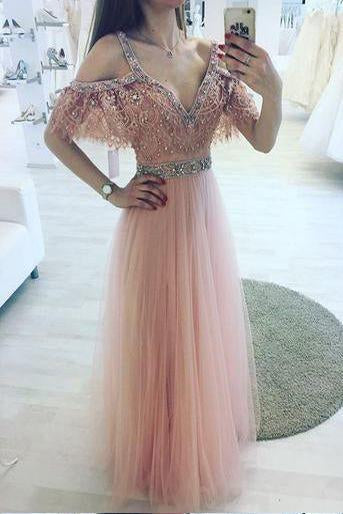 A-Line V-Neck Off Shoulder Pink Tulle Long Prom Dress with Beading PFP0091