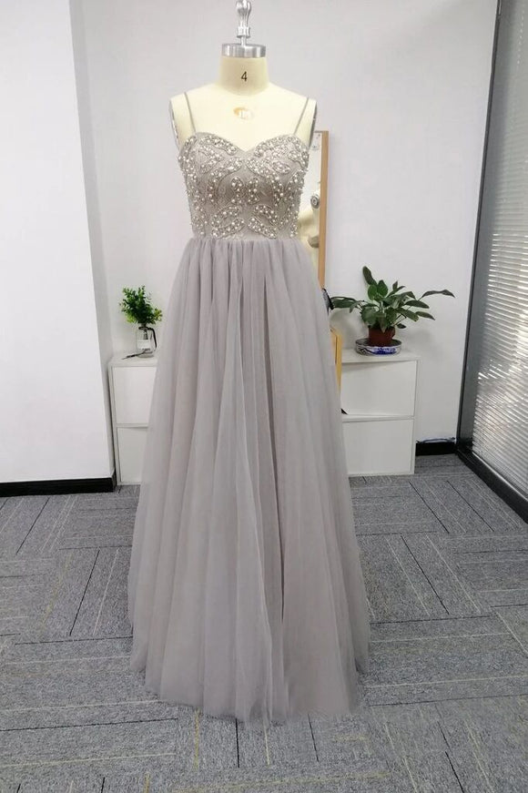 Silver Spaghetti Straps Beaded Bodice Tulle A Line Prom Dresses PFP1747