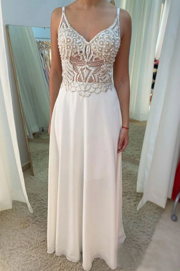 Ivory Chiffon See Through A Line V Neck Prom Dresses With Beading PFP1748