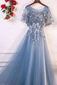 A-Line Blue Tulle Short Sleeves Long Lace Up Formal Evening Prom Dresses PFP0092