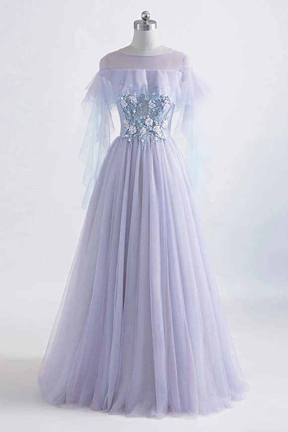 Promfast Princess Tulle Jewel Floor-length Prom Dress With Lace Appliques PFP1938