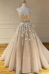A-line Scoop Lace Appliques Long Prom Dresses Cheap Evening Dress PFP1765