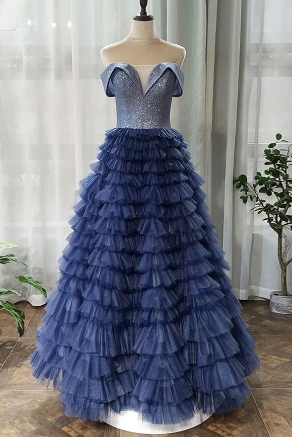 A-line Off-the-shoulder Royal Blue Long Prom Dresses Tulle Evening Dress PFP1767