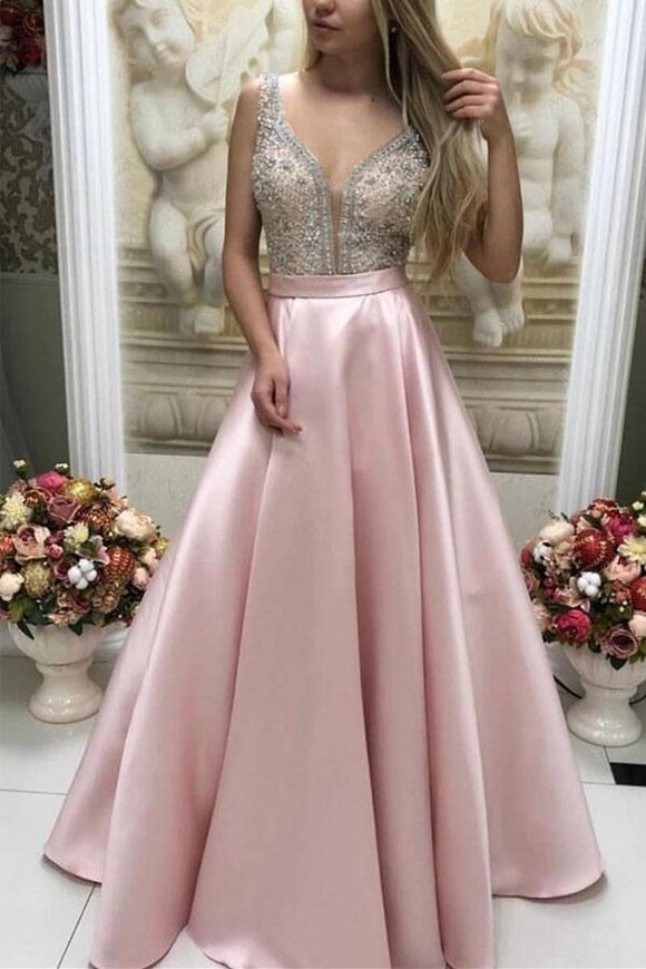 Promfast Sparkly Satin Pink Beaded Long Prom Dress with Open Back PFP1809