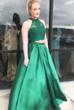 Two Pieces Halter A Line Satin Green Long Prom Dresses With Beads