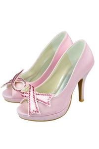 Beautiful Pink Beading High Heel Peep Toe Girly Party Shoes PFWS0009
